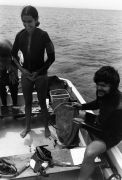 Scientific staff in a boat, diving equipment